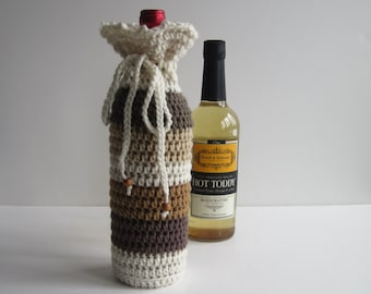 Wine Bottle Cover Crochet Cozy Gift Wrap - Shades of Brown and Beige with Wood Beads