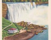 Niagara Falls, New York, American Falls - Linen Postcard - Unused (E)