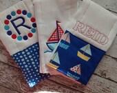 Set of 3 Personalized Burp Cloths - Diaper Cloths - Baby Boy - Monogrammed - Gift Set - Chevron - Sailboat - Nautical