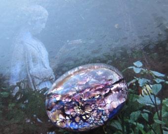 25x18mm Amethyst Opal Glass Cabochon 1Pc.