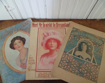 Three Art Nouveau Women Sheet Music Advertising