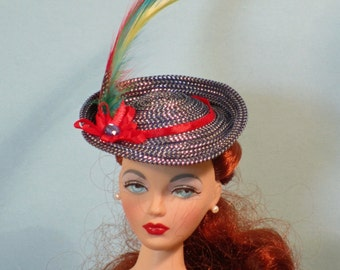 Blue fedora for 16 inch fashion dolls Gene, Ellowyne, BJDs
