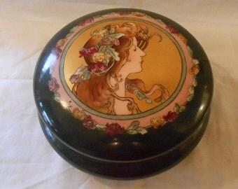 T V Tressemann & Vogt Limoges Porcelain Art Nouveau Dresser Jar Mucha Style