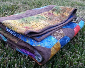 X's and O's Bali Batiks Charm Pack Rainbow Colored Quilt - Ready to Ship