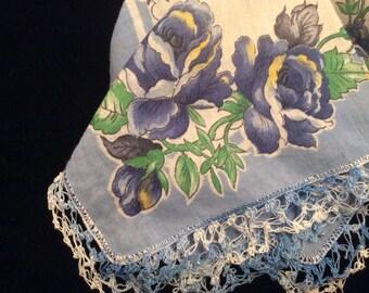 Vintage Blue Flower Handkerchief with Crocheted Lace Edging, Vintage Crochet, Vintage Women's Hankie, Bright Floral Vintage Handkerchief