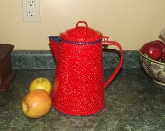 Farmhouse Coffeepot Graniteware Enamelware Vintage