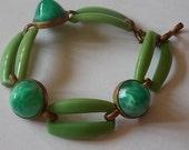 Art Deco Peking Glass Links Green Bracelet-LOVELY