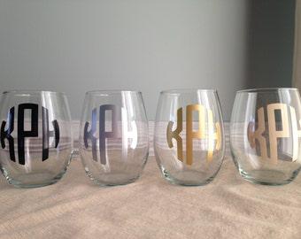 Set of 6 Personalized Monogram Stemless Wine Glasses
