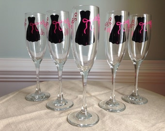 12 Personalized Bride and Bridesmaid Champagne Glasses