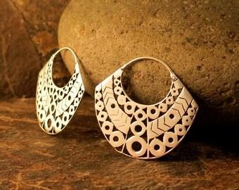 Aztec  Small Brass Earrings