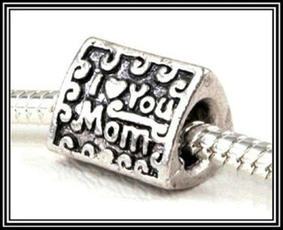 Antique Silver Plated I Love You Mom Heart Mothers