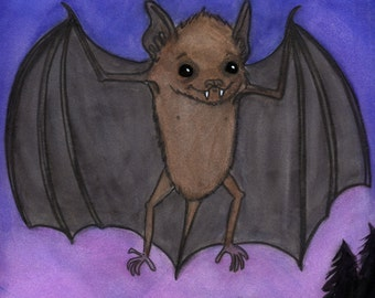 Baby Bat Art Print, Herman, Little Brown Bat Watercolor Illustration, 6x8 Goth Animal Portrait