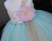 Mint with Pink Flowers TuTu Dress. Wedding .Flower Girl Dress. Birthday