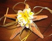 Beach Destination Wedding Starfish & Plumeria Ring Bearer Pillow Alternative - Pick Your Custom Color(s)