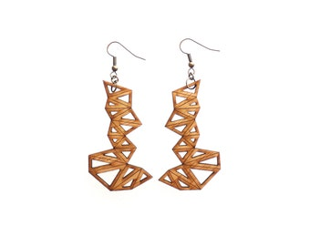 wood jewelry - Bamboo Triangle Cluster Earrings - Large, 1 Ply.  modern geometric. eco friendly lightweight