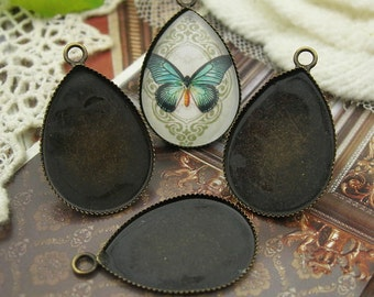10pcs (18x25mm)  Antique Brass Plated Cabochon Setting Base W/4mm Loop,NICKE FREE
