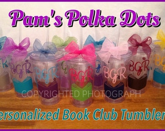 Personalized Clear Acrylic TUMBLER for BOOK CLUB Members Book Lover Reader Bookworms with name & polka dots