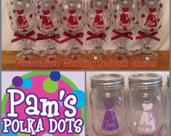 12 Personalized Bride & Bridesmaids REDNECK WINE GLASSES with dress name polka dots for Bridal Bachelorette Gifts Wedding Party Favor