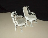 Tramp Art- Doll House Victorian Metal Chair and Rocker Set- Vintage