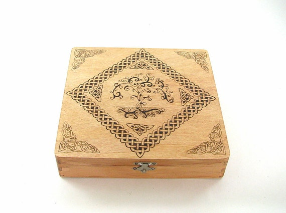 Celtic Jewelry Box - Wood Pyrography - Celtic Tree of Life Trinket Box Treasure Box