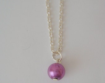 Lilac Pearl Drop Necklace, Pearl Drop Necklace, Pearl Necklace