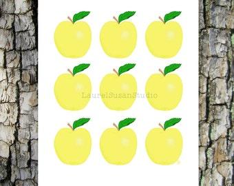 Yellow Apples Printable Art, Hand Drawn Art, Golden Delicious, Kitchen Food Fruit Digital Wall Art, PNG, JPG, PDF