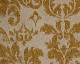 "Gold Damas scarlet Jacquard Upholstery and Drapery fabric per yard 56"" wide"