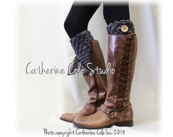 BOOTIE CUTIE in Charcoal Grey w/ Wood Button Handmade crochet boot toppers mini leg warmers knit boot cuffs womens Catherine Cole Studio CC1
