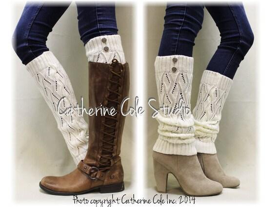 Leg warmers OPULENT ELEGANCE handmade knit legwarmers,  boots cuffs womens leg warmers, boot cuff sock  in Cream Catherine Cole Studio LW18