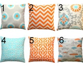 Orange Toss Pillows- Premier Prints Mandarin Coordinates Pillow Cover- All Sizes- Zippered Pillow- Bright Accents- Cushion Cover