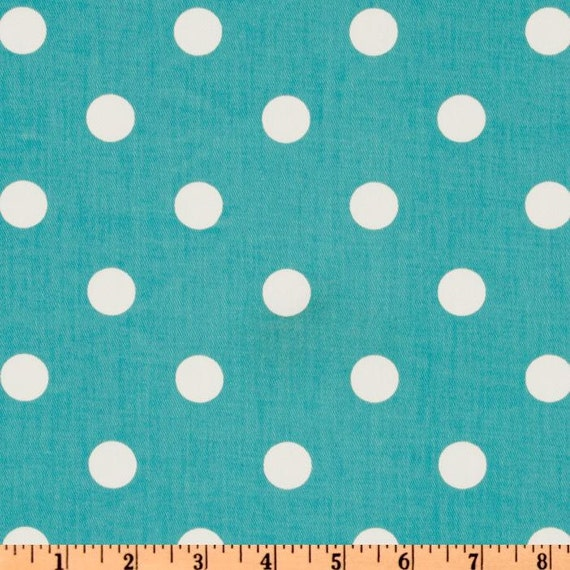 CLEARANCE- Decorative Toss Pillows- Premier Prints Girly Blue Polka Dot Pillow Cover- 14x14 inches- Zippered Pillow- Aqua Cushion- LAST ONE