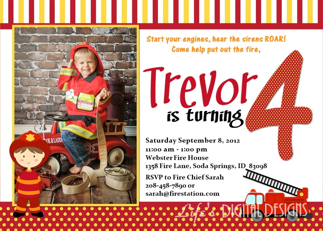 Fireman Birthday Invitations Fire Truck Invitations Photo