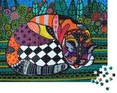 Jigsaw Puzzle 1000 Pieces ' Cuddles ' By Heather Galler - Modern Folk Art - Cat Sleeping