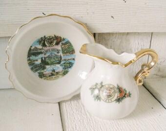 Vintage Oregon souvenir pitcher plate miniature landmarks white gold trim 1950s