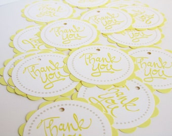 Baby Shower Favor Tags - Thank You Tags - YELLOW - Set of 12 tags - Handmade