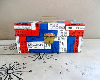 Metal Storage Box File Box Bill File Vintage Storage Metal Storage Filing Storage Bin Red White and Blue Americana Tin Box Office Storage