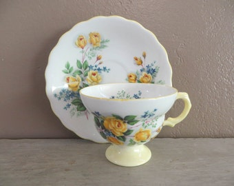 Tea Cup Rosina Yellow Rose Tea Cup Floral Teacup China Teacup Porcelain Tea Cup Trees Tea Cup Housewarming Gift Vintage Teacup