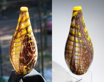 One Of A Kind Hand Blown Art Glass Vase - Abstract Earth Tone Teardrop