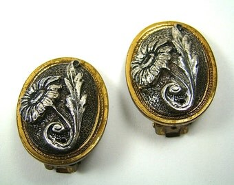 Antique Multi Toned Oval Floral lip On Earrings