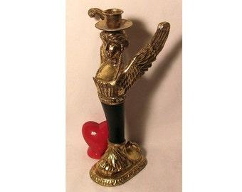 Vintage TST, Inc Resin Winged Goddess Candle Holder - Timco Standarttandem Inc - Gold and Black