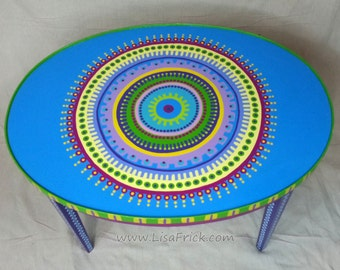 """PRICE REDUCED!- Hand Painted Oval Side Table With """"Eyeball"""" Mandala"""