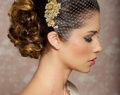 Bridal Veil and Gold Bridal Comb, Bandeau Birdcage Veil, Gold Blusher Bird Cage Veil - QUICK SHIPPER - Gold Rhinestone Fascinator Comb