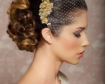 Bridal Veil and Gold Bridal Comb, Bandeau Birdcage Veil, Gold Blusher Bird Cage Veil - QUICK SHIPPER - Gold Rhinestone Fascinator Comb