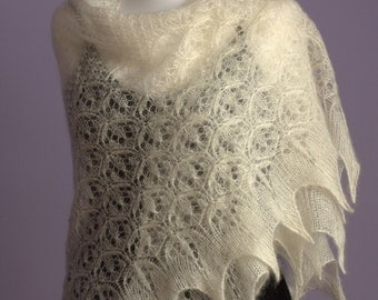 20% OFFMisty Dew hand knitted triangular kidsilk wedding shawl, luxurious kid mohair and silk creamy lace shawl / READY TO SHIP/