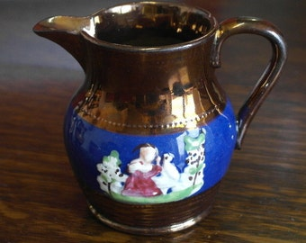 antique copper luster milk jug