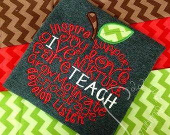 I Teach Apple Monogram Chevron & Polka Dot Embroidered Applique - Shirt 100% Cotton - MADE TO ORDER