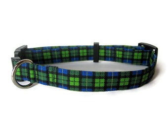 Blue and Green Plaid Dog Collar size Large