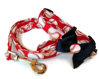 Red Baseball Dog Collar Leash Set size Small
