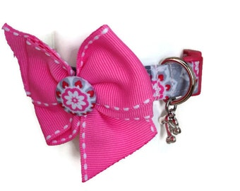 Pink and Grey Striped Dog Collar size Extra Small