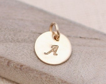 ONE Initial Charm, Personalized Necklace, Personalized Jewelry, gold filled